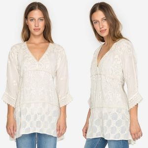 {Johnny Was} Monrow Ivory Embroidered Tunic Top XL